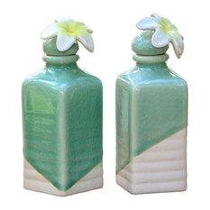 Frangipani Ceramic Oil Bottles, Set of 2