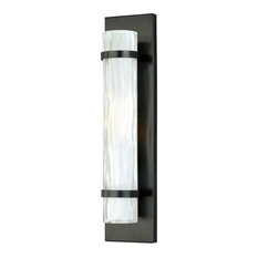 Vilo 1 Light Bronze Cylinder Flush ADA Wall Sconce White Glass