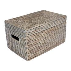 White Wash Rattan Lidded Storage Basket Rectangular Lid