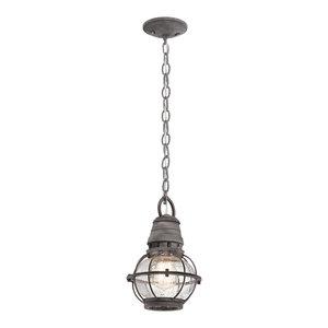 Point 1-Light Small Chain Lantern, Weathered Zinc
