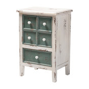 Eryn French Country Cottage Distressed White and Teal Wood 5-Drawer Accent Chest
