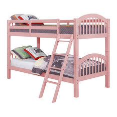 Dana Bunk Bed, Twin Over Twin, Pink, Bed Only