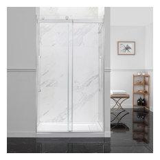 OVE Decors Montebello 48 in. Satin Nickel Frameless Sliding Shower Door