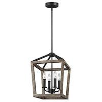 4-Light Wood Lantern Pendant Lighting, Brown