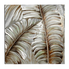 Square Silver and Bronze 3D Leaves Metallic Wall Art