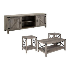 4 Piece Barn Door TV Stand Coffee Table And 2 End Table Set Rustic Gray Oak