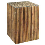 Padma's Plantation - Padma's Plantation Bamboo Stick Side Table Base With Glass - Naturally rustic and eco-friendly, this table is built with bamboo sticks over a hardwood frame. This tall side table is generously sized for a variety of uses.
