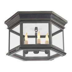 "Visual Comfort Lighting Club 16"" Outdoor Flush Mount, Bronze, Clear"