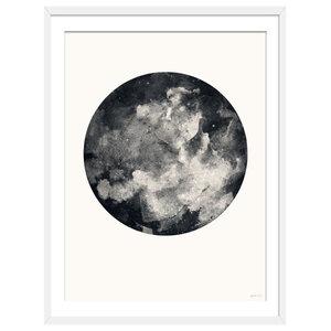 """""""Inverted Moon"""" Boho Art Print, White Framed, 50x70 cm"""