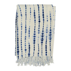 "Rope Shibori Throw, 50""x70"", Indigo Natural"