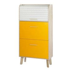 Orange and Oak Shoe Storage Unit, Wave Design