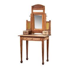 "63"" Anya Mirror Table Vanity Solid Teak Wood Beveled Mirror Antique Finish"