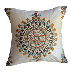 "Embroidered Medallion Pillow, Blue/Orange/Brown, 16""x16"", Without Insert"
