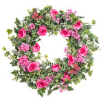 """Darby Creek Trading - Pink Rose, Lilac, Eucalyptus and Green Berry Pink Butterfly Wreath, 26"""" - Spring/Everyday Wreath"""
