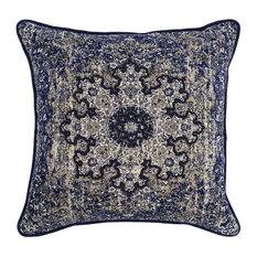"""Kosas - Emily 100% Cotton 22"""" Throw Pillow by Kosas Home, Indigo - Decorative Pillows"""