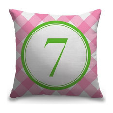 """""""Number Seven - Circle Plaid"""" Outdoor Pillow 18""""x18"""""""