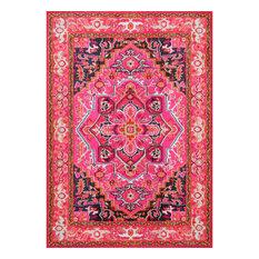"Traditional Bohemian Center Medallion Rug, Violet Pink, 6'7""x9'"