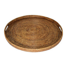 """Rattan Tray With  Handle Round 26"""""""