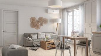 Гостиная комната, совмещенная с кухней