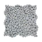 """12""""x12"""" Carrara White River Rocks Pebble Stone Mosaic Tile Tumbled"""