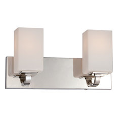Vista 2 Light Vanity Fixture With Etched Opal Glass