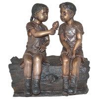 "Boy and Girl Enjoying an Ice-Cream Bronze Statue, 28""x24""x33"""