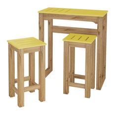 "3-Piece Stillwell 31.5"" Bar Kitchen Set, Yellow and Natural Wood"