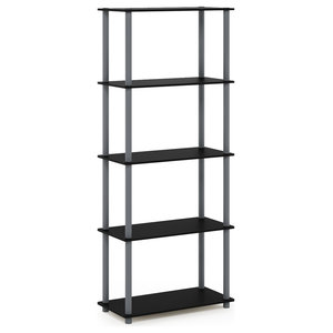 Furinno Turn-N-Tube 5-Tier Multipurpose Shelf Display Rack, Black/Gray