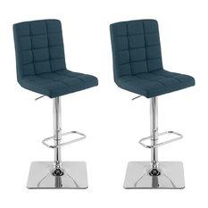 CorLiving Dark Blue Fabric Adjustable Barstool (Set Of 2)