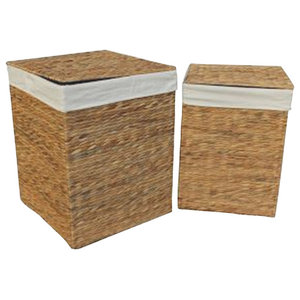Water Hyacinth Square Laundry Basket, Set of 2