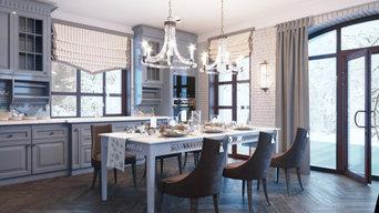 Кухня столовая гостиная с камином в частном доме