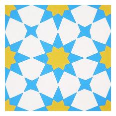 "8""x8"" Medina Handmade Cement Tile, Blue-Yellow, Set of 12"