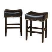 GDF Studio Loring Black Bonded Leather Backless Counter Stools, Set of 2