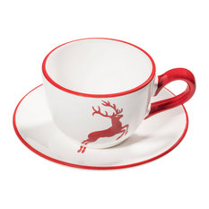 Ceramic Coffee Cup With Saucer, Ruby Red Deer