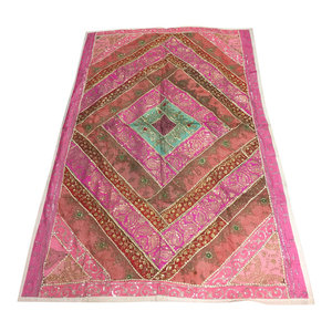 Mogulinterior - Consigned, Decorative Tapestry Pink Patchwork Sequin Throw Bohemian Wall Hanging - Tapestries