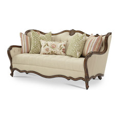 Michael Amini Aico Lavelle Melange Wood Trim Tufted Sofa Warm Brown 54815 Bisqu