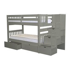 Bedz King Bunk Beds Twin Over Twin Stairway, 3 Step and 2 Bed Drawers, Gray