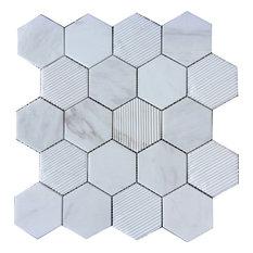 "12""x12"" Hex Honeycomb, Bianco Dolomite"