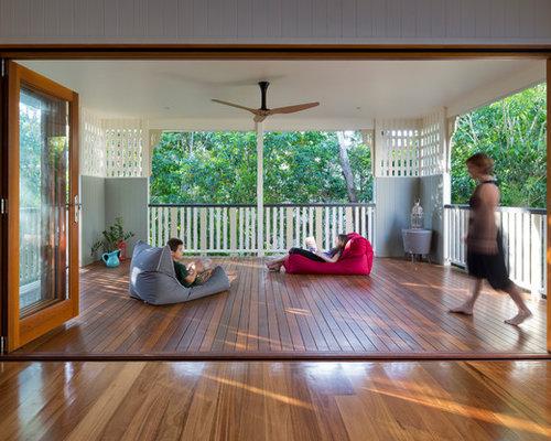 Second floor outside balcony houzz for 2nd floor terrace design