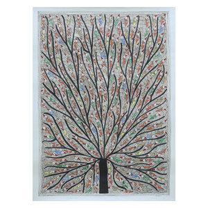 Novica Tree of Life With Birds Madhubani Painting