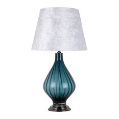 "Glass 30.25"" Art Lamp, Blue"