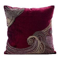 """Purple Zardozi Pillows Cover, Velvet 18""""x18"""" Throw Pillow Covers, Zardozi Waves"""