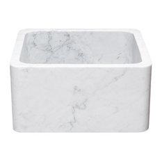 """17"""" Farmhouse Kitchen Sinks, Reversible, Carrara White Marble, White"""