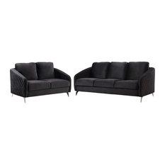 Sofia Black Velvet Fabric Sofa Loveseat Living Room Set