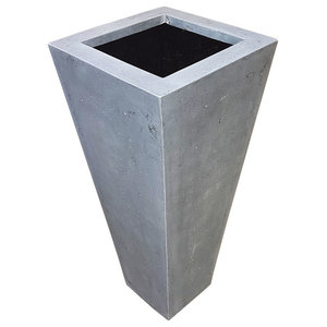Grey Flared Square Polystone Planter, 40x40x100 cm