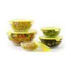 Mara 10-Piece Glass Bowl Set, Yellow Sunflower
