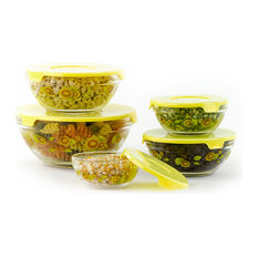 Imperial Home   10 Piece Glass Bowl, Yellow Sunflower   Mixing Bowls