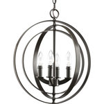 Rainbow - 4-Lights Sphere 3 Ring Painted Black Pendant/Chandelier - Inspired by ancient astronomy armillary spheres. Interlocking rings pivot for an infinite variety of positions. Four-light foyer pendant in a Antique Bronze finish is ideal for linear installations over a farmhouse table, dining room setting or kitchen island.  This incredible fixture takes 4-60 watt bulbs. bulbs not Included