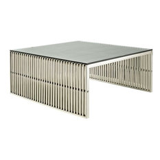 Hawthorne Collection Glass Top Coffee Table, Silver