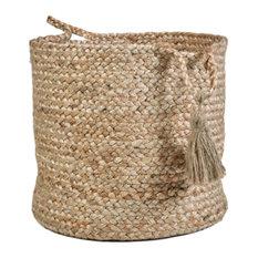 "LR Home - Montego Natural Jute Decorative Storage Basket, 19""x19""x19"" - Baskets"